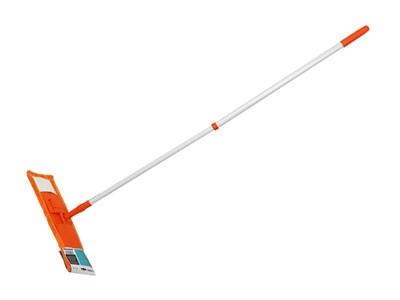 Швабра для пола с насадкой из микрофибры, оранжевая, PERFECTO LINEA (Телескопическая рукоятка 67-120 см)