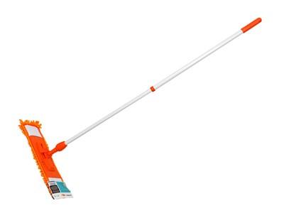 Швабра для пола с насадкой из шенилла, оранжевая, PERFECTO LINEA (Телескопическая рукоятка 67-120 см) - фото 14181