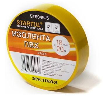 Изолента ПВХ 18 мм х 20 метров, желтая, Startul