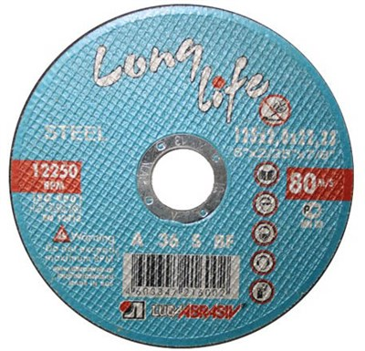 Круг отрезной 115х1.0x22.2 мм для металла Long Life LUGAABRASIV - фото 16859