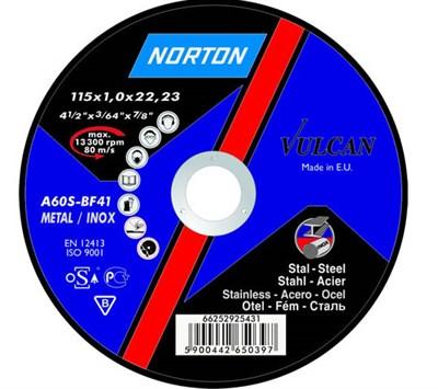 Круг отрезной 115х1.0x22.2 мм для металла Vulcan NORTON - фото 16868