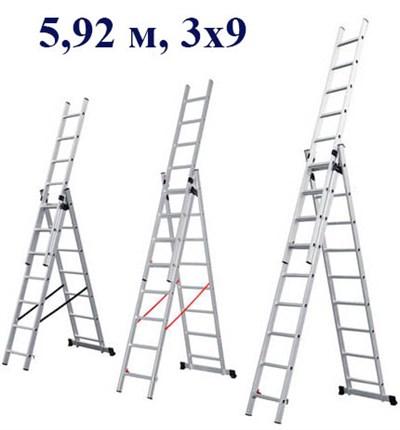Лестница алюм. 3-х секционная 5,92 метра, 3х9 ступеней, 12,2 кг. STARTUL