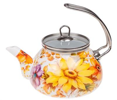 Чайник стальной эмалированный, 2.2 л, серия Цветочный хоровод - фото 18620