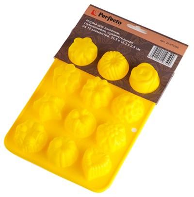 Форма для выпечки, силиконовая, прямоугольная на 12 элементов, 21,5 х 16,2 х 2,5 см, PERFECTO LINEA - фото 35532