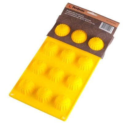 Форма для выпечки Смайлик-солнышко, силиконовая, прямоугольная на 12 элементов, 28,5 х 16,3 х 2,5 см, PERFECTO LINEA - фото 35538