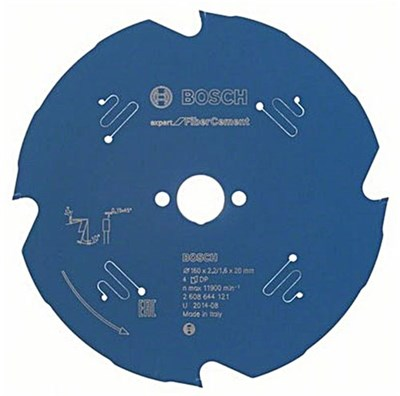 Диск пильный 165х20 мм 4 зуб. по фиброцементу EXPERT FOR FIBER CEMENT BOSCH (твердоспл. зуб)