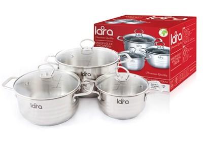 Набор посуды LARA LR02-80 серия Standart (кастр. 1.8л + 3.1л + 5.7л)