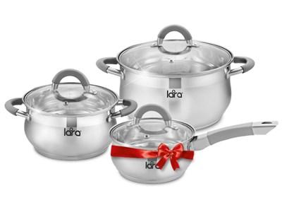 Набор посуды LR02-95 BELL PROMO (кастрюли 2.7л,4.7л +сотейник 1.7л)