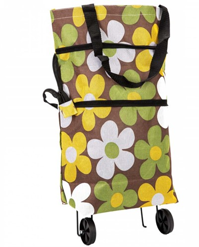Хозяйственная складная сумка с выдвижными колесиками, Цветы