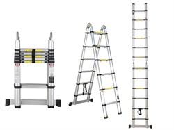 Лестница 2-х секционная телескопическая, алюминиевая 160/320 см, STARTUL