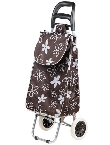 Сумка-тележка хозяйственная на колесах 30 кг, коричневая, цветы, PERFECTO LINEA