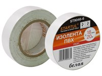Изолента ПВХ 18 мм х 20 метров, белая, Startul