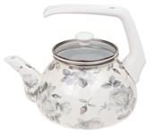 Чайник стальной эмалированный, 2.2 л, (диаметр 11,5 см, высота 12 см) , серия Белые розы