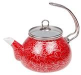 Чайник стальной эмалированный, 2.2 л, серия Красный шелк