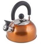 Чайник со свистком, нержавеющая сталь, 1,2 л, серия Holiday, оранжевый металлик, PERFECTO LINEA