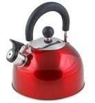 Чайник со свистком, нержавеющая сталь, 2,15 л, серия Holiday, красный металлик, PERFECTO LINEA