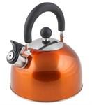 Чайник со свистком, нержавеющая сталь, 2,15 л, серия Holiday, оранжевый металлик, PERFECTO LINEA