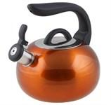 Чайник со свистком, нержавеющая сталь, 2,7 л, серия Focus, оранжевый металлик, PERFECTO LINEA