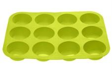 Форма для выпечки, силиконовая, прямоугольная на 12 кексов, 33х25х3 см, зеленая, PERFECTO LINEA
