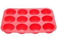 Форма для выпечки, силиконовая, прямоугольная на 12 кексов, 33х25х3 см, красная, PERFECTO LINEA
