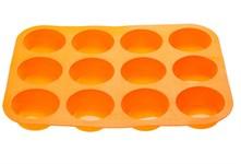Форма для выпечки, силиконовая, прямоугольная на 12 кексов, 33х25х3 см, оранжевая, PERFECTO LINEA