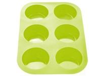 Форма для выпечки, силиконовая, прямоугольная на 6 кексов, 26х17,5х3 см, зеленая, PERFECTO LINEA