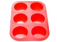 Форма для выпечки силиконовая, прямоугольная на 6 кексов, 26х17,5х3 см, красная, PERFECTO LINEA