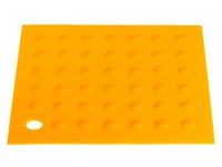 Коврик под горячее силиконовый, оранжевый, квадратный, 175х175 мм