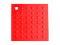 Коврик под горячее силиконовый, красный, квадратный, 175х175 мм