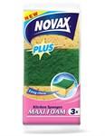 Губки кухонные MAXI FOAM 3шт (пенополиуретан + фибра, бежевый, размер 100 x 66 x 38 мм) NOVAX