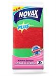 Губки кухонные антибактериальные 3шт (пенополиуретан + фибра, зеленый/красный, размер: 95 x 63 x 31 мм) NOVAX