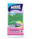 Губки кухонные профилированные 3шт NV Plus (пенополиуретан + фибра, зеленый/фиолетовый, размер 90 x 60 x 48 мм) NOVAX