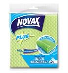 Салфетки влаговпитывающие XL 2шт NV Plus (натуральная целлюлоза, зеленый, размер 18 x 20 см) (NOVAX)