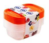 Набор контейнеров пластиковых прямоугольных для пищевых продуктов, 5 шт., 450 мл, серия One Touch, Good&Good