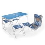 """Стол туристический складной влагостойкий + 4 стула """"NIKA"""" -Голубой"""