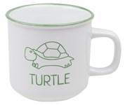 Кружка керамическая, 450 мл, серия Черепаха, белая (с черепахой зеленого цвета)
