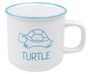 Кружка керамическая, 450 мл, серия Черепаха, белая,  (с черепахой голубого цвета)