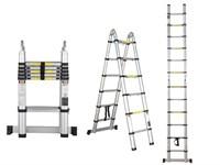 Лестница телескопическая двухсекционная, алюминиевая 220/440 см, 16,5 кг. STARTUL