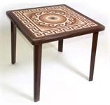 Пластиковый квадратный стол с деколем «Греческий орнамент» (шоколадн. 800x800x710 мм)