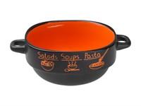 Супница керамическая 140 мм, круглая, серия Харчо, черно-оранжевая, PERFECTO LINEA