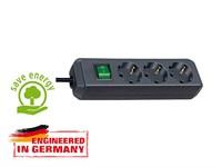 Удлинитель 1.5м (3 роз., 3.3кВт, с/з, выкл., ПВС) черный Brennenstuhl Eco-Line (провод 3х1,5мм2; сила тока 16А; с/з)