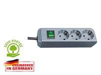 Удлинитель 1.5 м (3 роз., 3.3 кВт, с/з, выкл., ПВС) серебристо-серый Brennenstuhl Eco-Line (провод 3х1,5 мм2; сила тока 16А; с/з)
