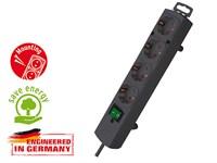 Удлинитель 2м (4 роз., 3.3кВт, с/з, выкл., ПВС) черный Brennenstuhl Comfort-Line (провод 3х1,5мм2; сила тока 16А; с/з)
