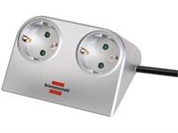 Удлинитель настол. 1,8м (2 роз., 3.3кВт, с/з, ПВС) серебристый Brennenstuhl Desktop-Power (провод 3х1,5мм2; сила тока 16А; с/з)