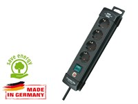 Удлинитель 1.8м (4 роз., 3.3кВт, с/з, выкл., ПВС) черный Brennenstuhl Premium-Line (провод 3х1,5мм2; сила тока 16А; с/з)