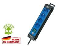 Удлинитель 1.8 м (4 роз., 3.3 кВт, с/з, выкл., ПВС) черный/синий, Brennenstuhl Premium-Line (провод 3х1,5 мм2; сила тока 16А; с/з)