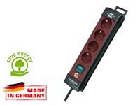 Удлинитель 1.8 м (4 роз., 3.3 кВт, с/з, выкл., ПВС) черный/бордовый, Brennenstuhl Premium-Line (провод 3х1,5 мм2; сила тока 16А; с/з)