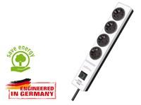 Удлинитель 2м (4 роз., 3.3кВт, с/з, выкл., ПВС) белый/черный Brennenstuhl Hugo! (провод 3х1,5мм2; сила тока 16А; с/з)