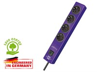Удлинитель 2м (4 роз., 3.3кВт, с/з, выкл., ПВС) фиолетовый Brennenstuhl Hugo! (провод 3х1,5мм2; сила тока 16А; с/з)
