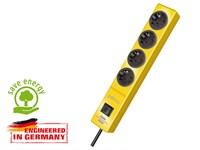 Удлинитель 2м (4 роз., 3.3кВт, с/з, выкл, ПВС) желтый Brennenstuhl Hugo! (провод 3х1,5мм2; сила тока 16А; с/з)